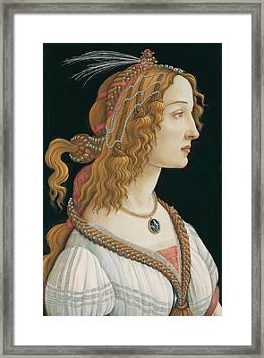 Idealized Portrait Of A Lady Framed Print by Sandro Botticelli