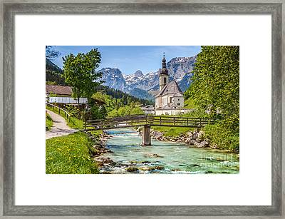 Idyllic Church In The Alps Framed Print by JR Photography