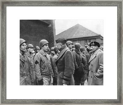 Ike Checks Invasion Forces Framed Print by Underwood Archives