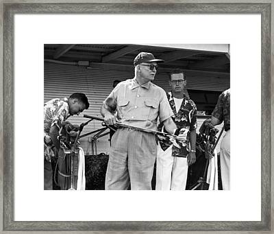 Ike Plays Golf In Hawaii Framed Print by Underwood Archives
