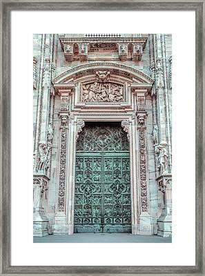 Il Duomo Portal Milan Italy Framed Print by Joan Carroll