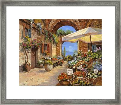 Il Mercato Del Lago Framed Print by Guido Borelli