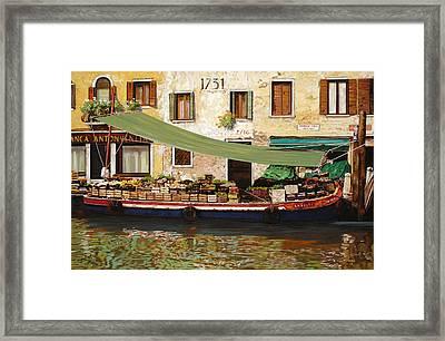 il mercato galleggiante a Venezia Framed Print by Guido Borelli