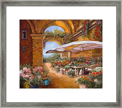 Il Mercato Sotto I Portici Framed Print by Guido Borelli