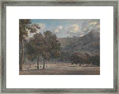 Il Parco Degli Astroni - The Wooded Crater Bottom With Hunt In Progress Framed Print by John Robert Cozens