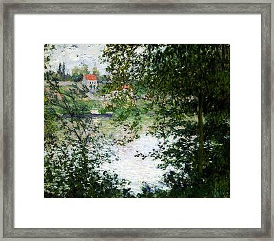 Ile De La Grande Jatte Through The Trees Framed Print by Claude Monet