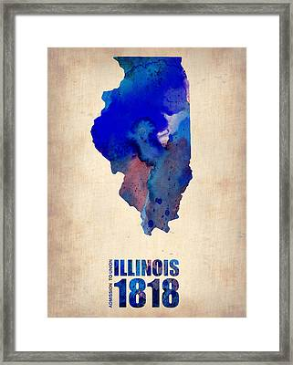 Illinois Watercolor Map Framed Print by Naxart Studio