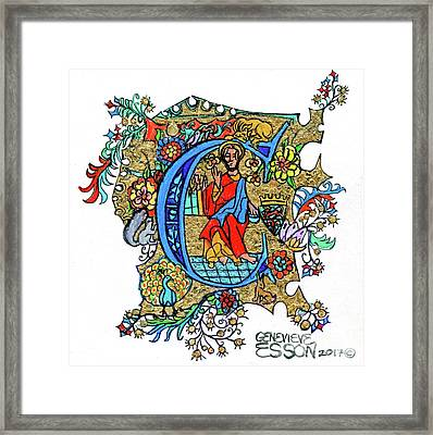Illuminated Letter C Framed Print by Genevieve Esson