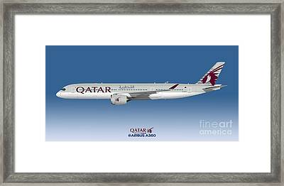 Illustration Of Qatar Airbus A350 - Blue Version Framed Print by Steve H Clark Photography