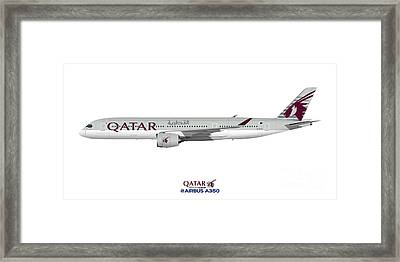 Illustration Of Qatar Airbus A350 Framed Print by Steve H Clark Photography