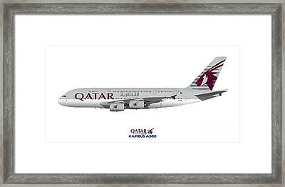Illustration Of Qatar Airways Airbus A380 Framed Print by Steve H Clark Photography