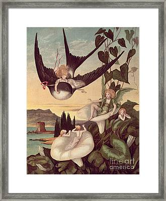 Illustration To 'thumbkinetta' Framed Print by Eleanor Vere Boyle and Hans Christian Andersen