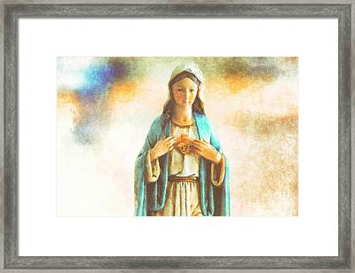 Immaculate Heart Of Mary Framed Print by Davy Cheng