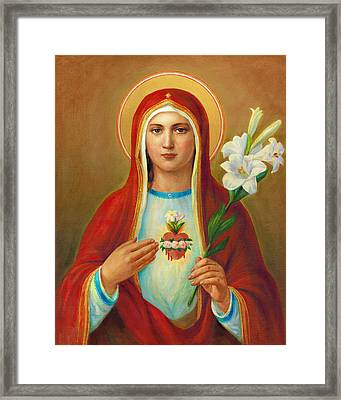 Immaculate Heart Of Mary Framed Print by Svitozar Nenyuk