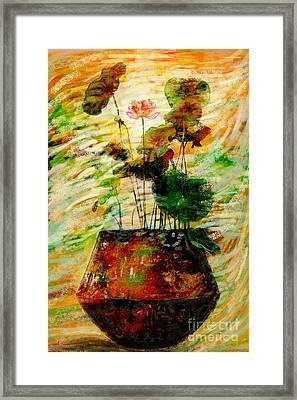 Impression In Lotus Tree Framed Print by Atiketta Sangasaeng