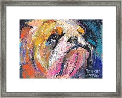 Impressionistic Bulldog Painting Framed Print by Svetlana Novikova