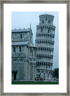 Impressive View Of The Cathedral Standing Alongside The Leaning Tower Of Pisa Framed Print by Sami Sarkis