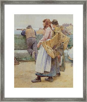 In A Cornish Fishing Village Framed Print by Walter Langley