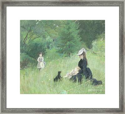 In A Park Framed Print by Berthe Morisot