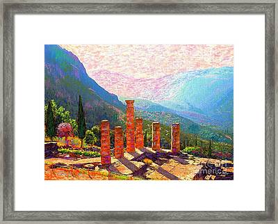 In Awe Of Delphi Framed Print by Jane Small