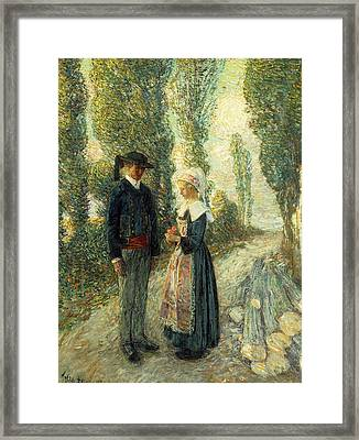 In Brittany Evening Hour Pont Aven Framed Print by Childe Hassam