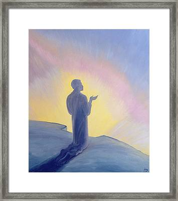 In His Life On Earth Jesus Prayed To His Father With Praise And Thanks Framed Print by Elizabeth Wang