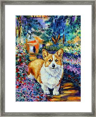 In Monet's Garden - Pembroke Welsh Corgi Framed Print by Lyn Cook