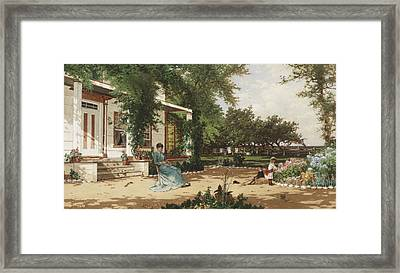 In My Neighbours Garden Framed Print by Alfred Thompson Bricher