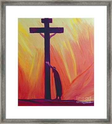 In Our Sufferings We Can Lean On The Cross By Trusting In Christ's Love Framed Print by Elizabeth Wang