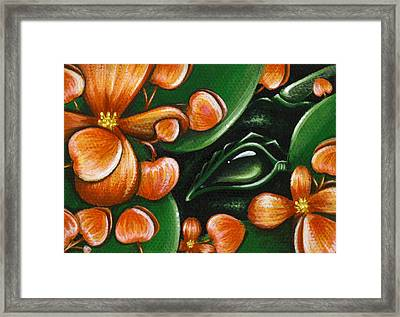 In The Begonias Framed Print by Elaina  Wagner