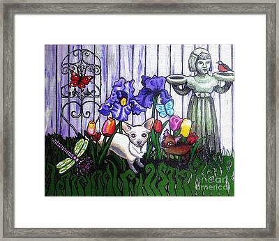 In The Chihuahua Garden Of Good And Evil Framed Print by Genevieve Esson