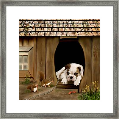 In The Dog House Framed Print by Thanh Thuy Nguyen