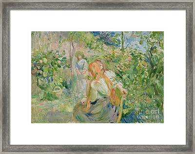 In The Garden At Roche Plate Framed Print by Berthe Morisot