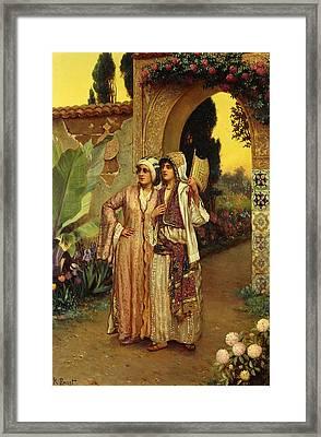 In The Garden Of The Harem Framed Print by Rudolphe Ernst