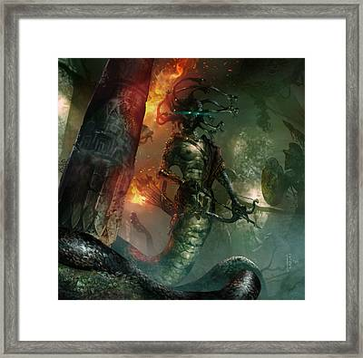 In The Lair Of The Gorgon Framed Print by Ryan Barger