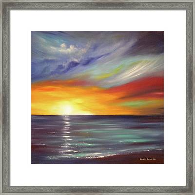 In The Moment Square Sunset Framed Print by Gina De Gorna