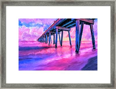 In The Pink On Pensacola Beach Framed Print by Mark Tisdale