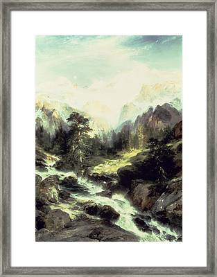 In The Teton Range Framed Print by Thomas Moran