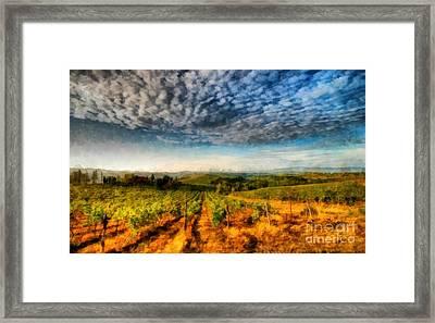 In The Vineyard Winery Landscape Framed Print by Edward Fielding