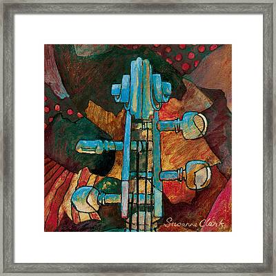 In Tune - String Instrument Scroll In Blue Framed Print by Susanne Clark