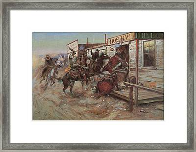 In Without Knocking Framed Print by Charles M Russell