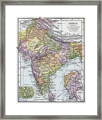 India Circa 1930. Before Partition Framed Print by Vintage Design Pics