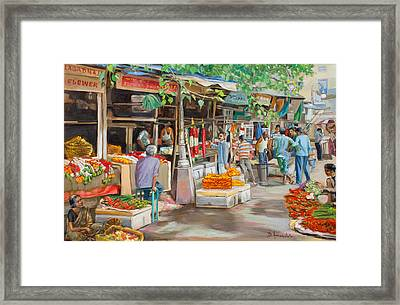 India Flower Market Street Framed Print by Dominique Amendola
