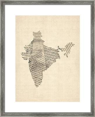India Map, Old Sheet Music Map Of India Framed Print by Michael Tompsett