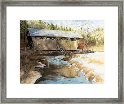 Indian Creek Covered Bridge Framed Print by James Clewell