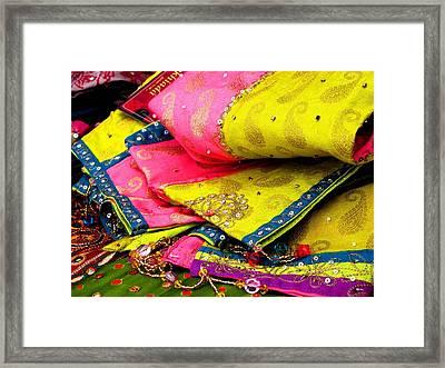 Indian Fabric Two Framed Print by Elizabeth Hoskinson