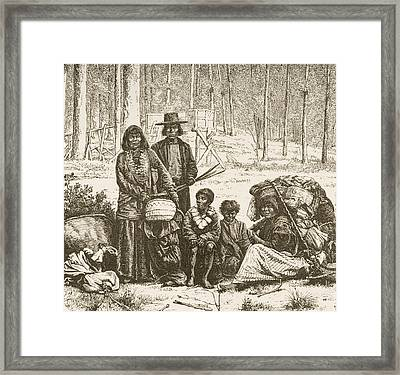 Indian Family Group West Of The Rocky Framed Print by Vintage Design Pics