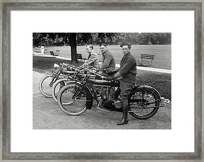 Indian Motorcycle Run C. 1920 Framed Print by Daniel Hagerman