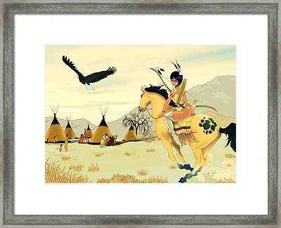 Indian On Horse Framed Print by Lynn Rider