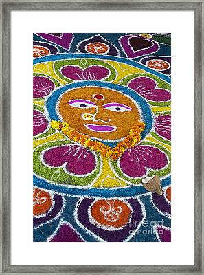 Indian Rangoli Face  Framed Print by Tim Gainey